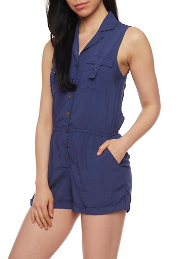 Sleeveless Button Front Romper with Cuffed Shorts,BLUE,large