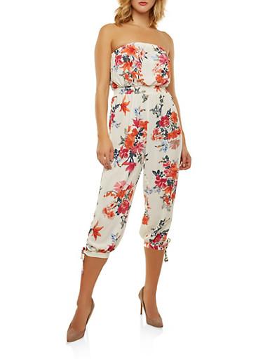 Strapless Floral Jumpsuit,IVORY,large