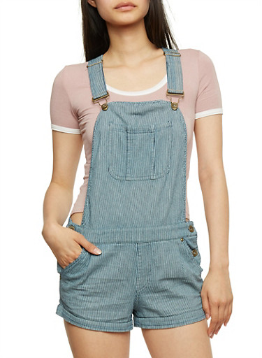 Striped Shortalls with Rolled Cuffs,BLUE/WHITE,large
