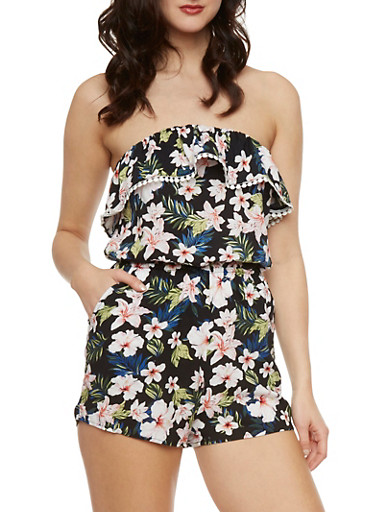 Strapless Romper in Floral Print,PINK,large