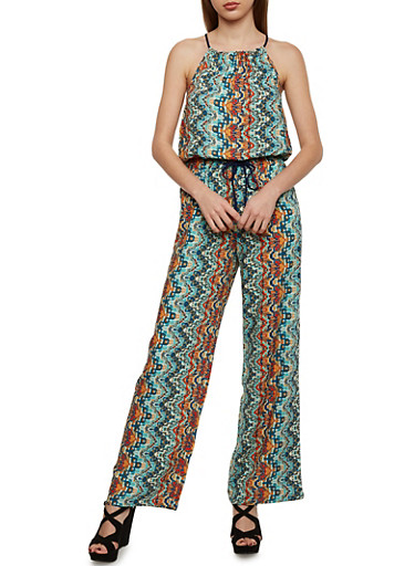 Printed Halter Neck Jumpsuit,MINT,large