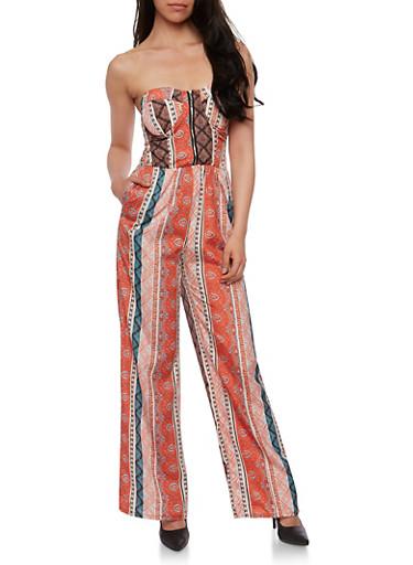 Strapless Printed Zip Front Jumpsuit,AQUA,large