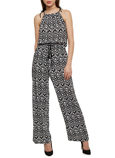 Sleeveless Printed Halter Neck Jumpsuit with Tie Straps,BLACK/WHITE,large