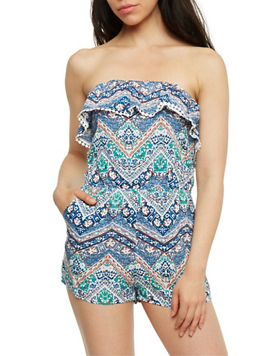 Printed Strapless Romper with Flounce Overlay,JADE,large