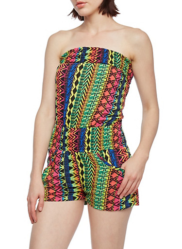 Strapless Romper with Multi-Pattern Print,LIME,large