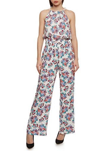 Floral Halter Neck Jumpsuit with Drawstring Waist,IVORY,large