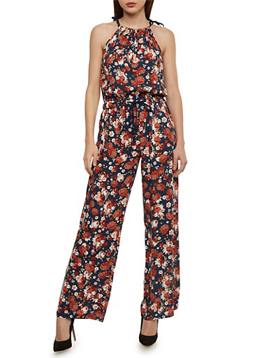 Floral Halter Neck Jumpsuit with Drawstring Waist,NAVY,large