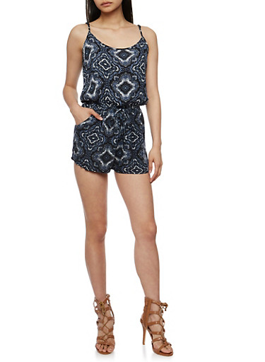 Sleeveless Printed Romper,BLACK,large
