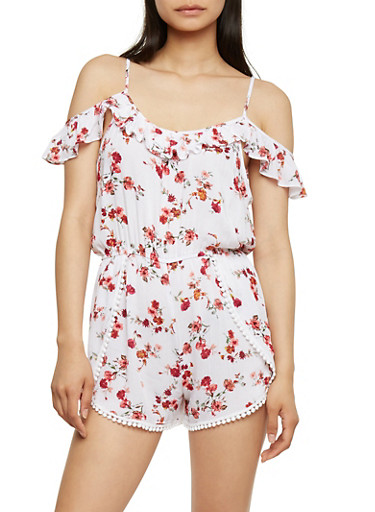 Floral Cold Shoulder Romper with Ruffle Trim,WHITE,large