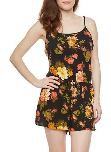Floral Print Romper,BLACK,large