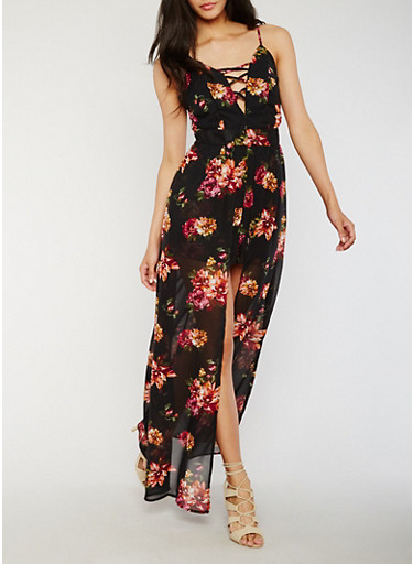 Floral Lace Up Romper with Maxi Skirt Overlay,BLACK,large