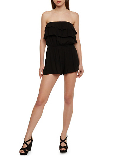 Strapless Romper with Ruffled Neckline Detail,BLACK,large