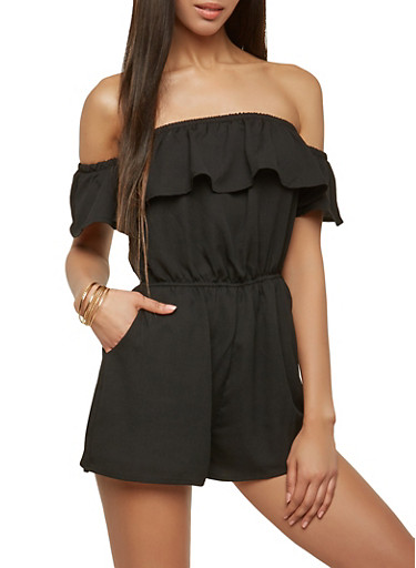 Off the Shoulder Romper,BLACK,large