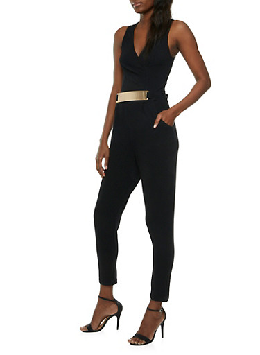 Textural Jumpsuit with Surplice Neck and Metallic Bar Waist Belt,BLACK,large