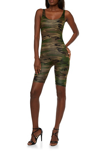 Camo Print Short Jumpsuit with Scoop Neck,OLIVE,large