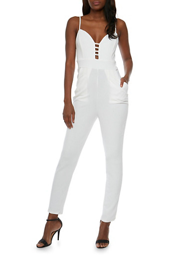 Solid Spaghetti Strap Caged Neck Jumpsuit,IVORY,large
