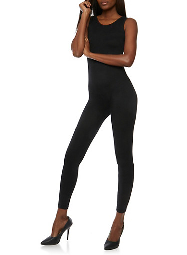 Solid Sleeveless Catsuit,BLACK,large