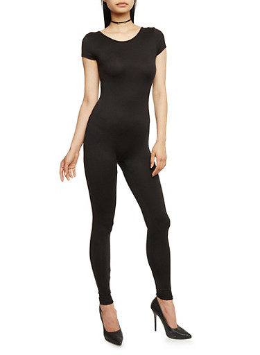 Solid Short Sleeve Catsuit,BLACK,large