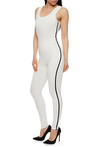 Sleeveless Varsity Stripe Catsuit,WHITE,large