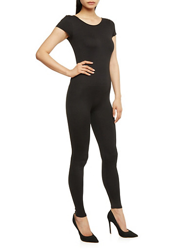 Short Sleeve Catsuit,BLACK,large