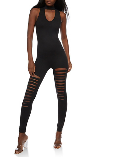 Slashed Choker Catsuit,BLACK,large