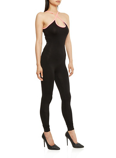 Contrast Trim Catsuit with Keyhole Detail,BLACK/NEON PINK,large