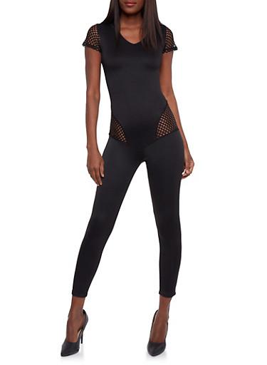 V Neck Catsuit with Mesh Details,BLACK,large