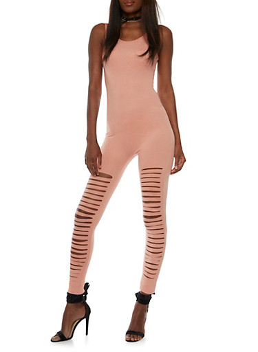 Sleeveless Slashed Leg Catsuit,DUSTY PINK,large