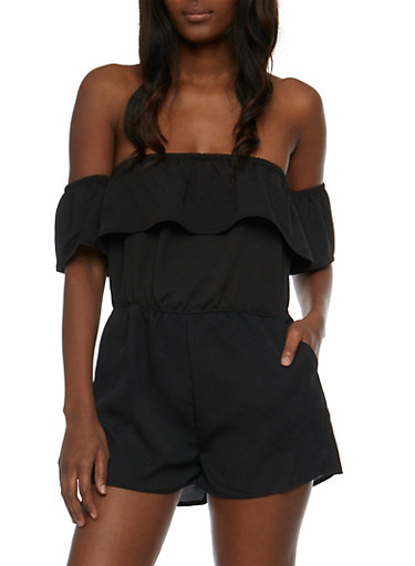 Crepe Knit Off the Shoulder Ruffled Romper,BLACK,large