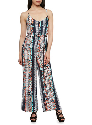 Henley Jumpsuit with Multicolored Tribal Print,NAVY/CORAL,large