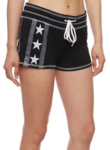 Stars and Stripes Athletic Shorts,BLACK,large