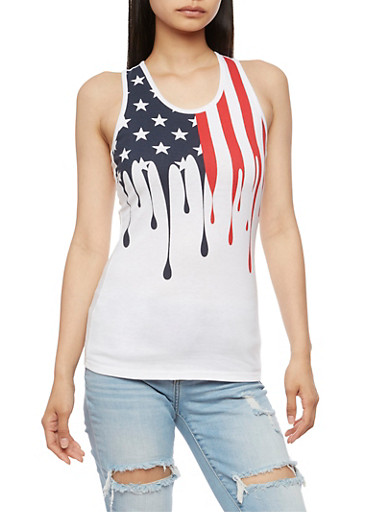American Flag Graphic Activewear Tank Top,WHITE,large