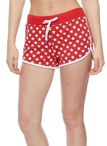 Star Print Drawstring Athletic Shorts,RED,large