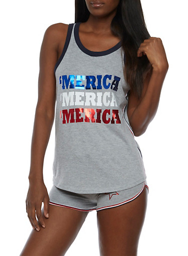 Merica Graphic Tank Top,HEATHER,large