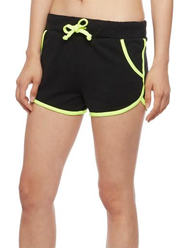 Contrast Trim Athletic Shorts,BLACK,large