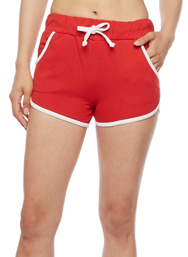 Contrast Trim Athletic Shorts,RED,large