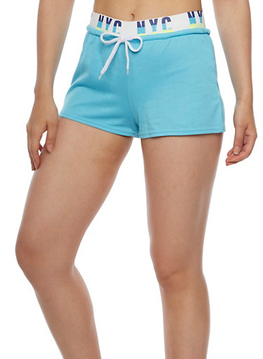 NYC Graphic Activewear Shorts,TEAL,large