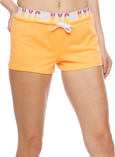 NYC Graphic Activewear Shorts,ORANGE,large