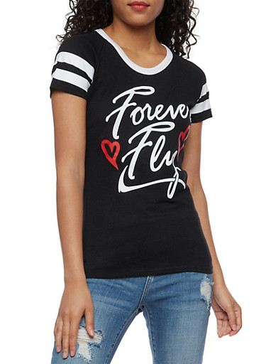 Forever Fly Graphic T Shirt,BLACK,large