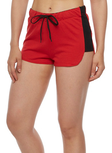 French Terry Shorts with Graphic Forever Fly Waist Band,RED,large
