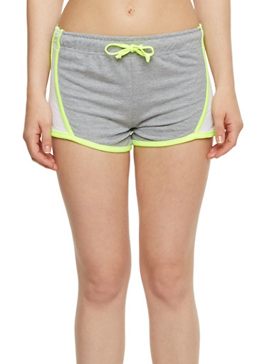 Color Block Athletic Shorts,HEATHER,large