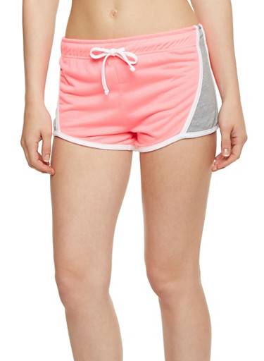 Color Block Athletic Shorts,PINK,large