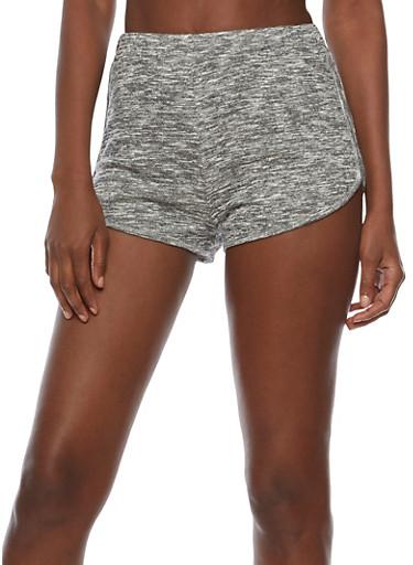 Marled Knit Shorts,BLACK,large