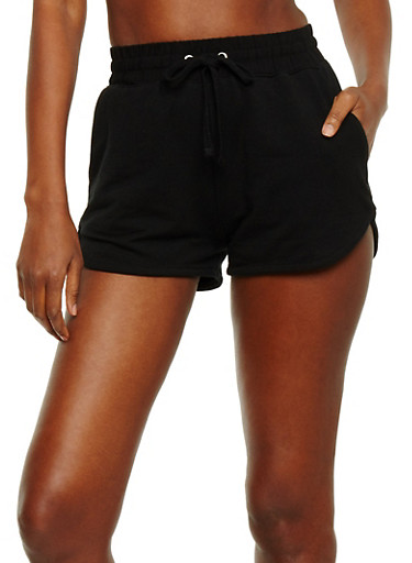 Athletic French Terry Drawstring Shorts,BLACK,large