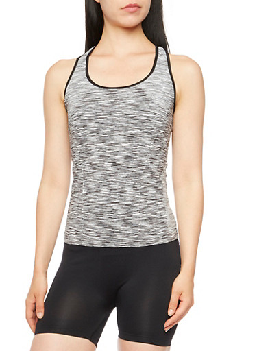 Space-Dye Racerback Top,BLACK/WHITE,large
