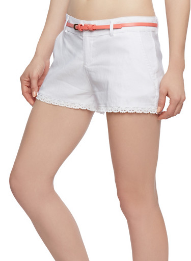 Belted Shorts with Crochet Trim,WHITE/ CORAL,large