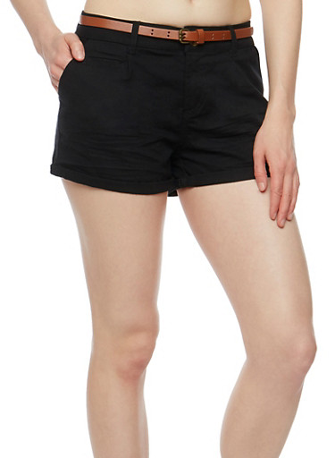 Belted Cuffed Twill Shorts,BLACK,large