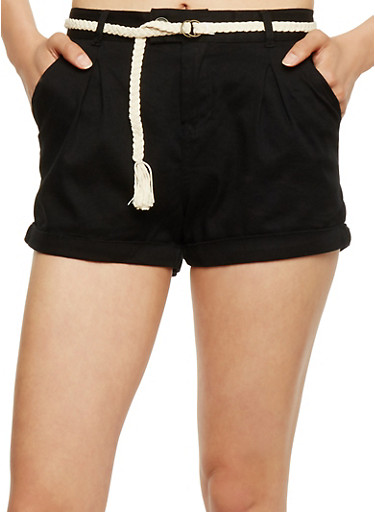 Five Pocket Twill Shorts with Braided Belt,BLACK,large