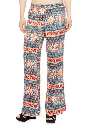 Palazzo Pants with Mixed Tribal Print,BLUE/DENIM,large