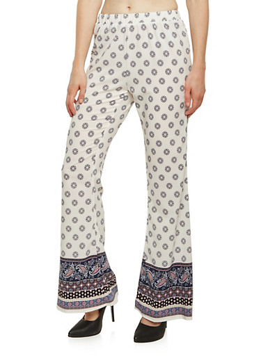 Pull On Palazzo Pants in Mixed Print,NAVY,large